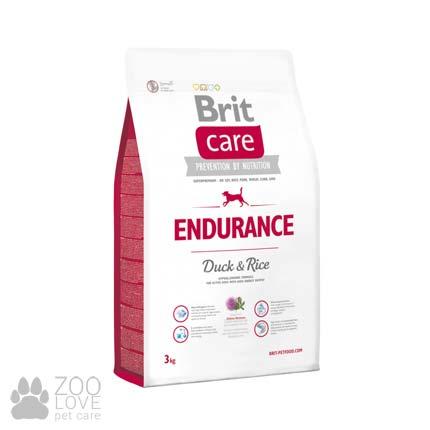 Фото упаковки сухого корма для активных собак всех пород Brit Care Endurance 3 кг