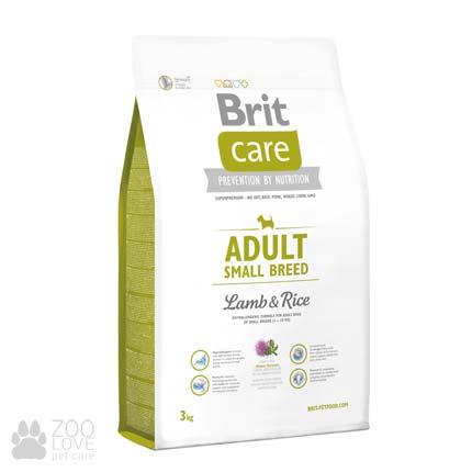 Упаковка сухого корма для мелких собак Brit Care Adult Small Breed Lamb & Rice 3 кг