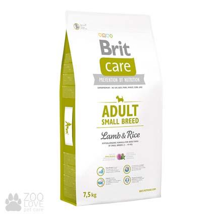 Упаковка сухого корма для мелких собак Brit Care Adult Small Breed Lamb & Rice 7,5 кг
