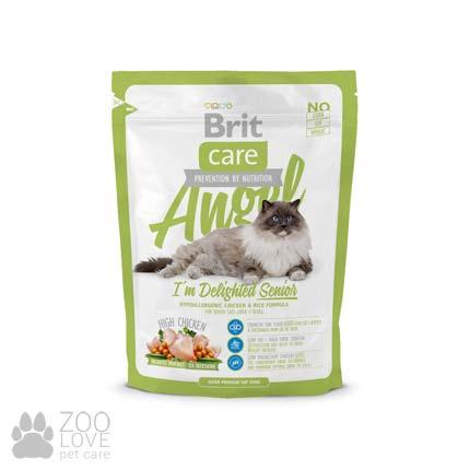 Изображение упаковки сухого корма для старых котов Brit Care Cat Angel I am Delighted Senior 0,4 кг