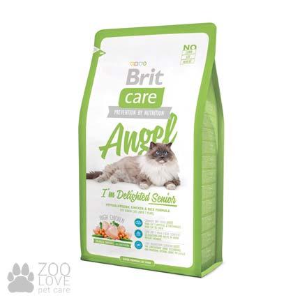 Изображение упаковки сухого корма для старых котов Brit Care Cat Angel I am Delighted Senior 2 кг