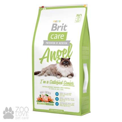 Изображение упаковки сухого корма для старых котов Brit Care Cat Angel I am Delighted Senior 7 кг