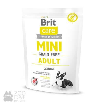 Фото упаковки сухого корма для собак Brit Care Adult Mini 400 г