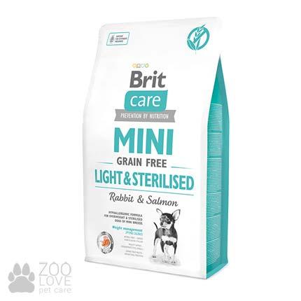 Изображение упаковки беззернового корма Brit Care Mini Light&Sterilised 2 кг для собак малых пород контроль веса