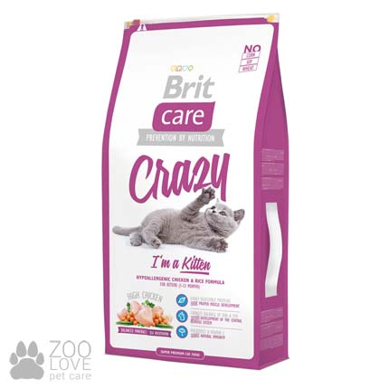 Изображение упаковки гипоаллергенного корма для котят Brit Care Crazy I am Kitten 7 кг