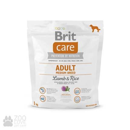 Фото упаковки сухого корма дл собак средних пород Brit Care Adult Medium Breed Lamb & Rice 1 кг, весом от 10 до 25 кг