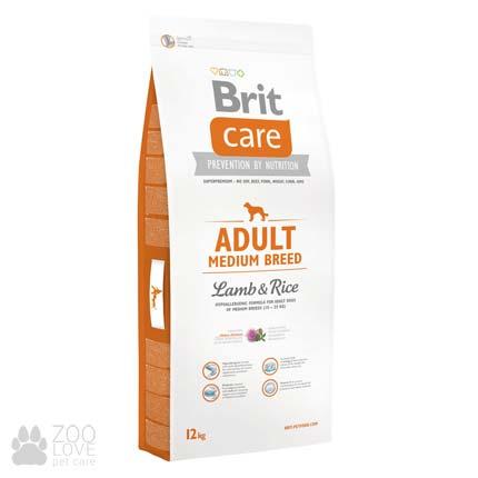 Фото упаковки сухого корма дл собак средних пород Brit Care Adult Medium Breed Lamb & Rice 12 кг, весом от 10 до 25 кг