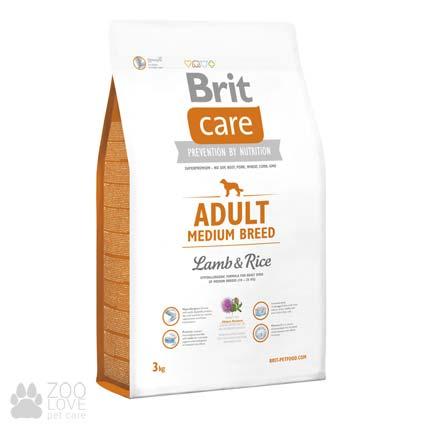 Фото упаковки сухого корма дл собак средних пород Brit Care Adult Medium Breed Lamb & Rice 3 кг, весом от 10 до 25 кг