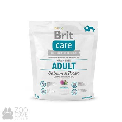 Фото упаковки корма для собак средних пород Brit Care Grain Free Adult Salmon & Potato 1 кг