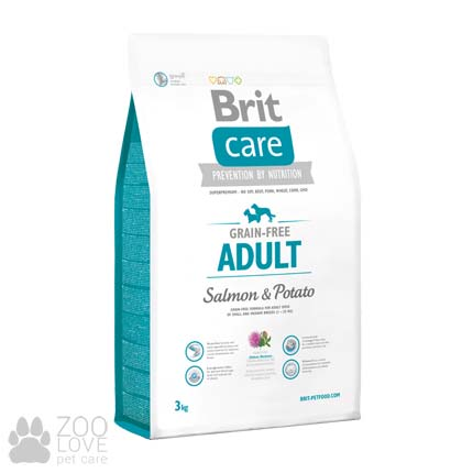 Фото упаковки корма для собак средних пород Brit Care Grain Free Adult Salmon & Potato 3 кг