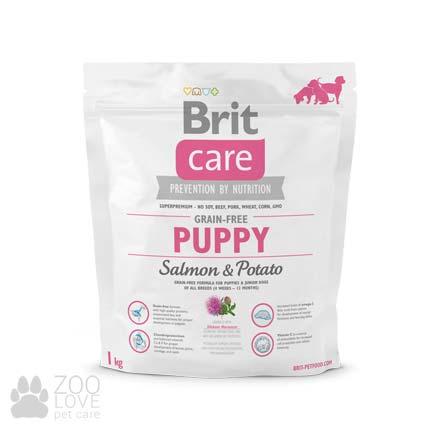 Изображение упаковки сухого корма для щенков Brit Care Grain Free Puppy Salmon & Potato 1 кг