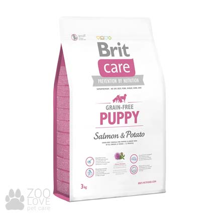 Изображение упаковки сухого корма для щенков Brit Care Grain Free Puppy Salmon & Potato 3 кг