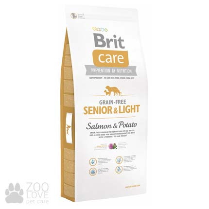 Brit Care Grain Free Senior & Light Salmon & Potato 12 кг, сухой корм для пожилых собак всех пород
