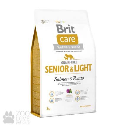 Brit Care Grain Free Senior & Light Salmon & Potato 3 кг, сухой корм для пожилых собак всех пород