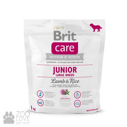 Фото упаковки сухого корма для щенков гигантских пород Brit Care Junior Large Breed Lamb & Rice 1 кг