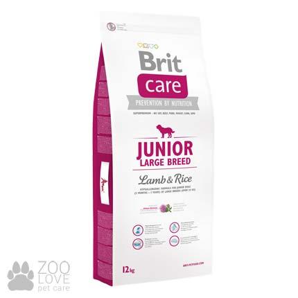 Фото упаковки сухого корма для щенков гигантских пород Brit Care Junior Large Breed Lamb & Rice 12 кг
