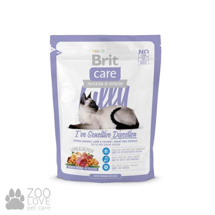 Изображение сухого беззернового корма для кошек с чувствительным пищеварением Brit Care Lilly I have Sensitive Digestion 400 грамм