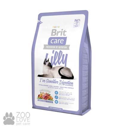 Изображение сухого беззернового корма для кошек с чувствительным пищеварением Brit Care Lilly I have Sensitive Digestion 2 кг