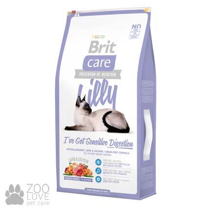Фото упаковки сухого беззернового корма для кошек с чувствительным пищеварением Brit Care Lilly I have Sensitive Digestion 7 кг