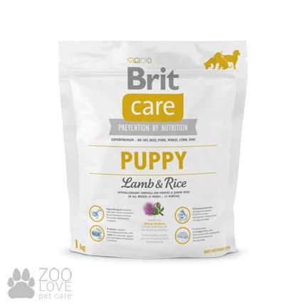 Изображение упаковки сухого корма для щенков Brit Care Puppy Lamb & Rice 1 кг