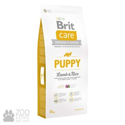 Изображение упаковки сухого корма для щенков Brit Care Puppy Lamb & Rice 12 кг