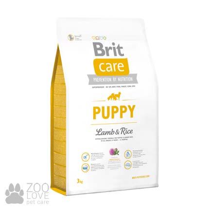 Изображение упаковки сухого корма для щенков Brit Care Puppy Lamb & Rice 3 кг