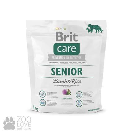 Изображение упаковки сухого гипоаллергенного беззернового корма для старых собак всех пород Brit Care Senior Lamb & Rice 1 кг