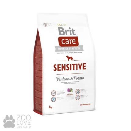 Изображение упаковки сухого корма для собак с чувствительным пищеварением Brit Care Sensitive Venison & Potato 3 кг