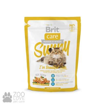 Фото корма Brit Care Sunny I have Beautiful Hair 0,4 кг, для здоровья кожи и шерсти у кошек