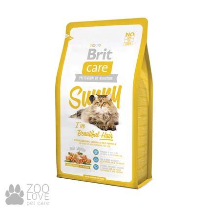 Фото корма Brit Care Sunny I have Beautiful Hair 2 кг, для здоровья кожи и шерсти у кошек