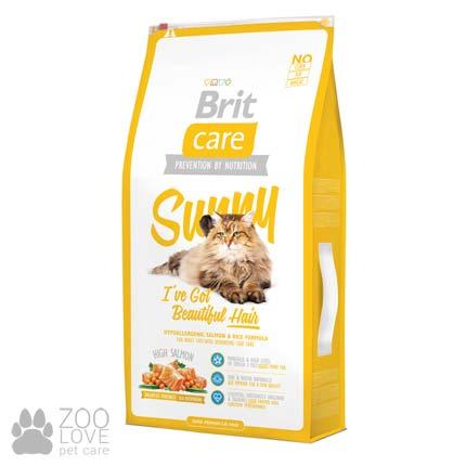 Фото корма Brit Care Sunny I have Beautiful Hair 7 кг, для здоровья кожи и шерсти у кошек