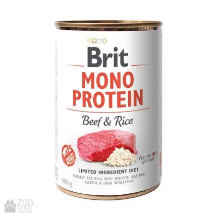 Корм для собак Brit Mono Protein Beef & Rice Моно протеин с мясом и рисом, 400 грамм