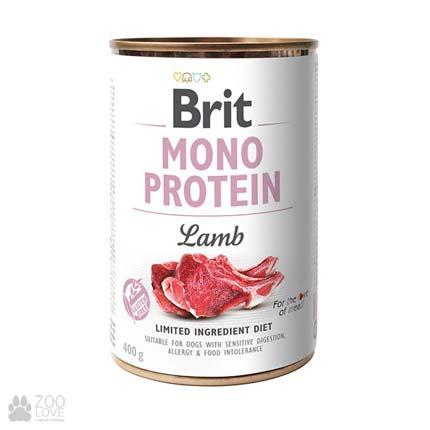 Корм для собак Brit Mono Protein Turkey Моно протеин с мясом ягненка, 400 грамм