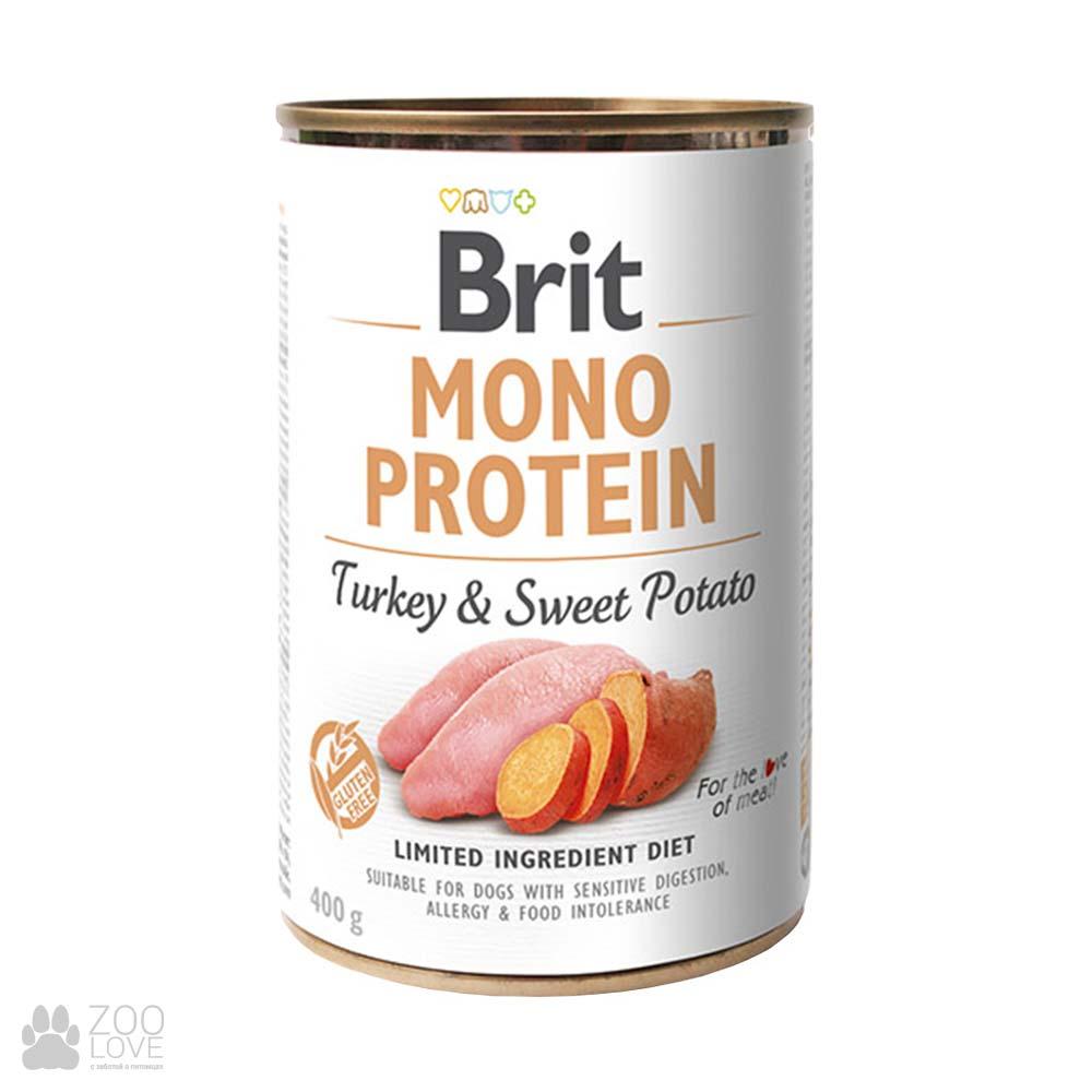 Корм для собак Brit Mono Protein Turkey & Sweet Potato Моно протеин с индейкой и сладким картофелем, 400 грамм