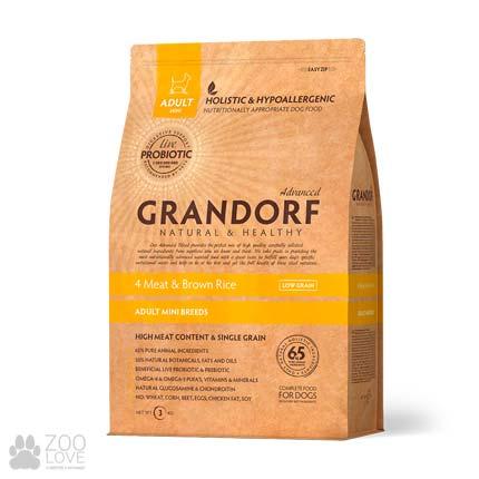 Фото упаковки корма для собак мелких пород Grandorf 4 Meat & Brown Rice Adult Mini
