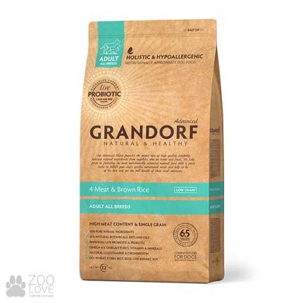 Фото упаковки корма для собак всех пород Grandorf 4 Meat & Brown Rice Adult All Breeds