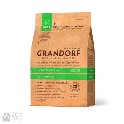 Фото упаковки корма для собак мелких пород Grandorf Lamb & Rice Adult Mini