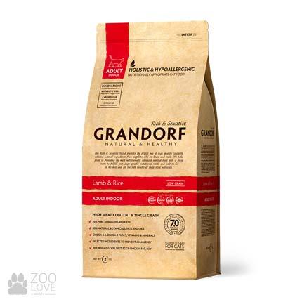 Упаковка корма для кошек Grandorf Lamb & Rice Adult Indoor 2 кг