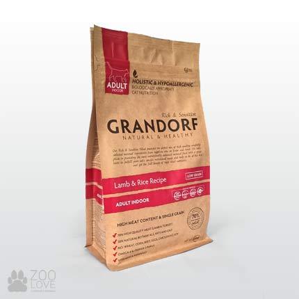 Упаковка корма для кошек Grandorf Lamb & Rice Adult Indoor 400 грамм