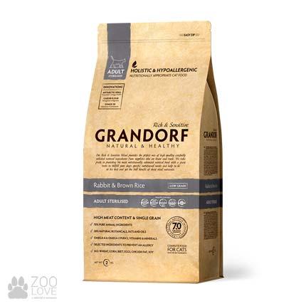 Упаковка корма для стерилизованных кошек Grandorf Rabbit & Brown Rice Sterilised 2 кг