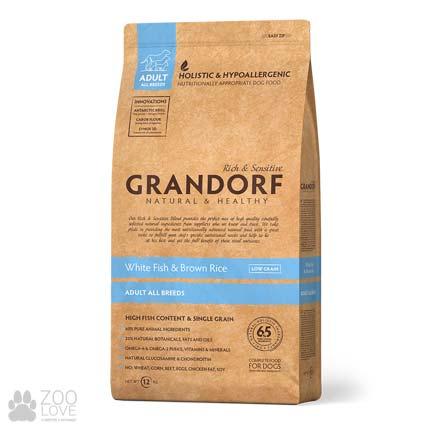 Фото упаковки сухого корма для собак любых пород Grandorf White Fish & Brown Rice All Breeds, 12 кг
