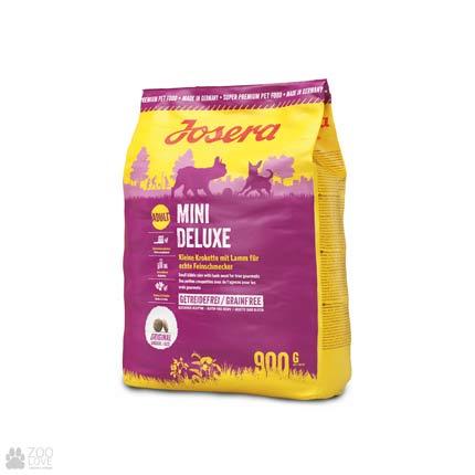Фото упаковки сухого корма для взрослых собак собак малых пород с ягненком Josera Mini Deluxe 0,9 кг