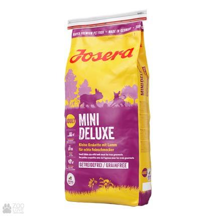 Фото упаковки сухого корма для взрослых собак собак малых пород с ягненком Josera Mini Deluxe 15 кг
