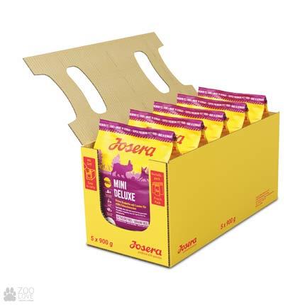 Фото упаковки сухого корма для взрослых собак собак малых пород с ягненком Josera Mini Deluxe 5 х 0,9 кг