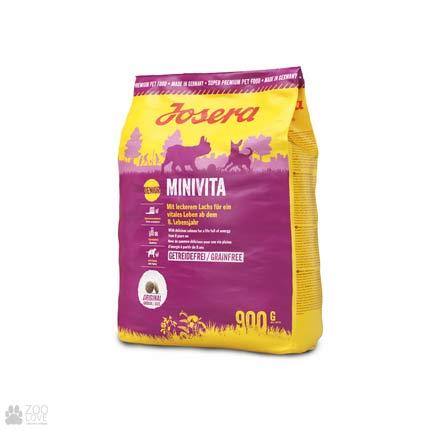Фото упаковки сухого корма для пожилых собак малых пород Josera Minivita 0,9 кг
