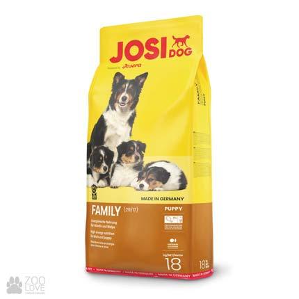 Фотография корма для щенков и кормящих сук Josidog Family 29/17, мешок 18 кг