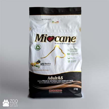 Фото упаковки корма сухого Морандо Миокане 0.5 (Miocane) для взрослых собак с ягненком и рисом, 3 кг