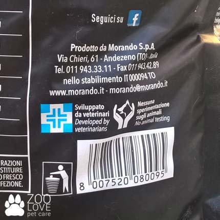 Штрих код производителя на упаковке корма для старых собак Морандо Миокане Сенйор 0.6
