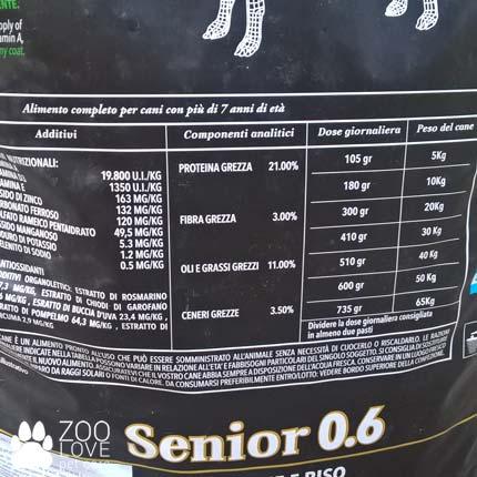 Таблица кормления сухим кормом для пожилых собак Morando Miocane Senior 0.6, 10 кг