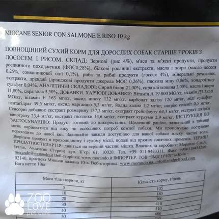 Состав сухого корма для пожилых собак Morando Miocane Senior 0.6